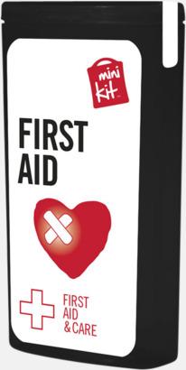 Svart Mini första hjälpen-kit med reklamtryck