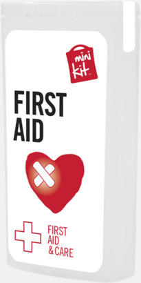 Vit Mini första hjälpen-kit med reklamtryck