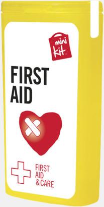 Gul Mini första hjälpen-kit med reklamtryck