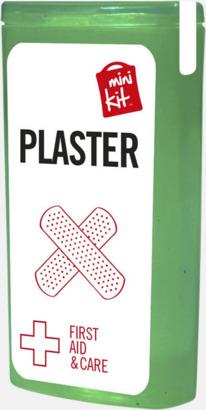 Grön Kit med 10 plåster i förpackning med reklamtryck