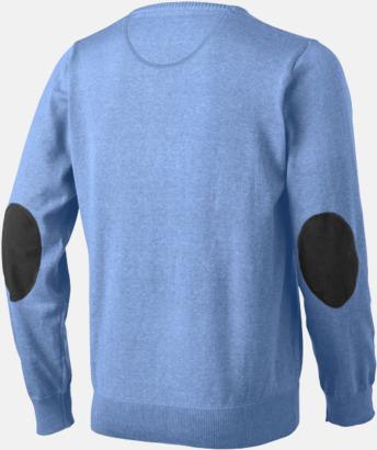 Baksida (herr) V-ringad lappad pullover med reklamtryck