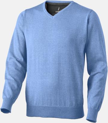 Ljusblå (herr) V-ringad lappad pullover med reklamtryck
