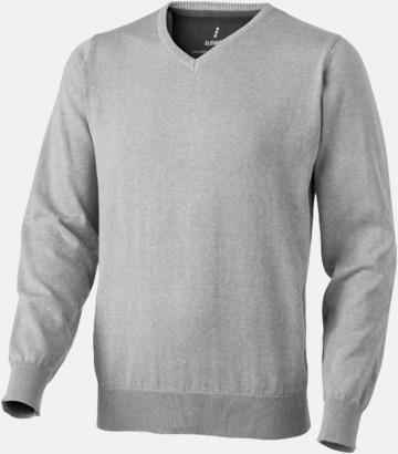 Grå melange (Herr) V-ringad lappad pullover med reklamtryck