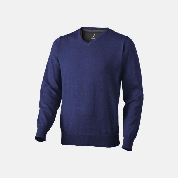 Marinblå (herr) V-ringad lappad pullover med reklamtryck