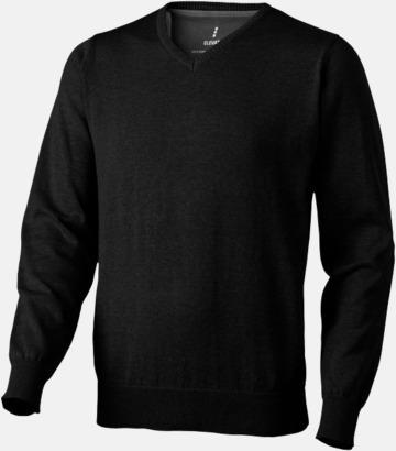 Svart (herr) V-ringad lappad pullover med reklamtryck