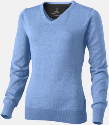 Ljusblå (dam) V-ringad lappad pullover med reklamtryck