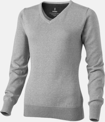 Grå melange V-ringad lappad pullover med reklamtryck