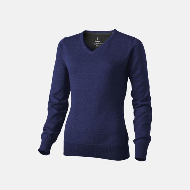 Marinblå (dam) V-ringad lappad pullover med reklamtryck