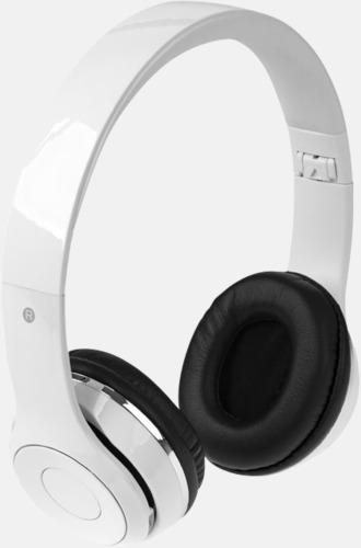 Vit Vikbara hörlurar med Bluetooth med reklamtryck