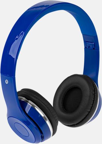 Blå Vikbara hörlurar med Bluetooth med reklamtryck