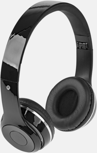 Svart Vikbara hörlurar med Bluetooth med reklamtryck
