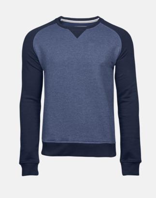 Denim Melange/Marinblå (herr) Tvåfärgade sweatshirts med reklamtryck