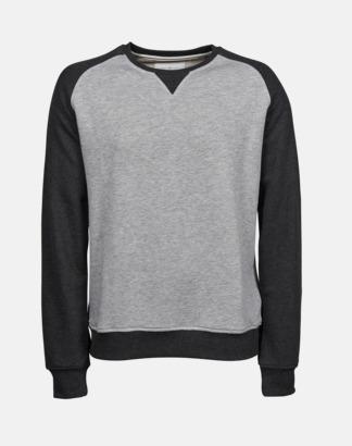 Heather Grey/Svart (herr) Tvåfärgade sweatshirts med reklamtryck