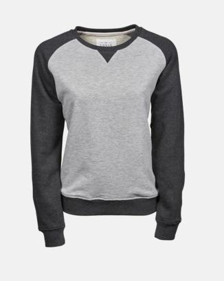 Heather Grey/Svart (dam) Tvåfärgade sweatshirts med reklamtryck