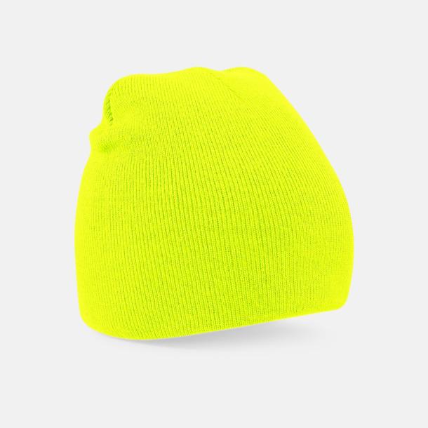 Fluorescerande Gul Rak, stickad mössa med brodyr