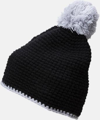 Svart / Ljusgrå Toppluvor med rand och toft i annan färg - med bordyr