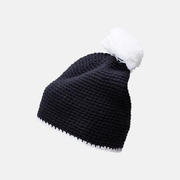 Marinblå / Vit Toppluvor med rand och toft i annan färg - med bordyr