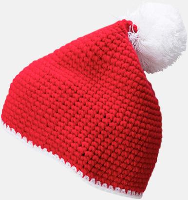 Röd / Vit Toppluvor med rand och toft i annan färg - med bordyr