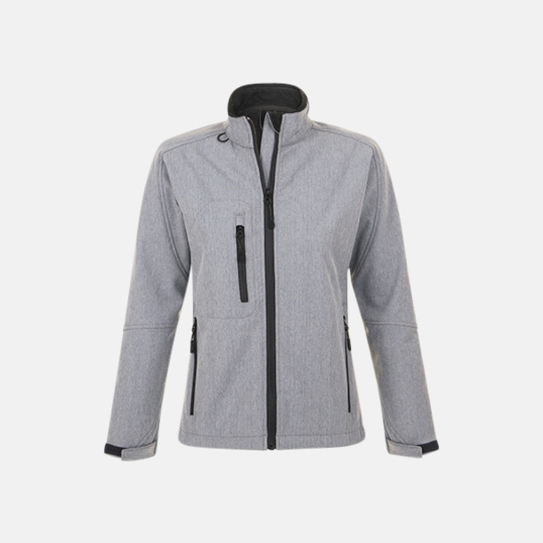 Grey Melange (dam) Softshell jackor i herr- & dammodell med reklamtryck