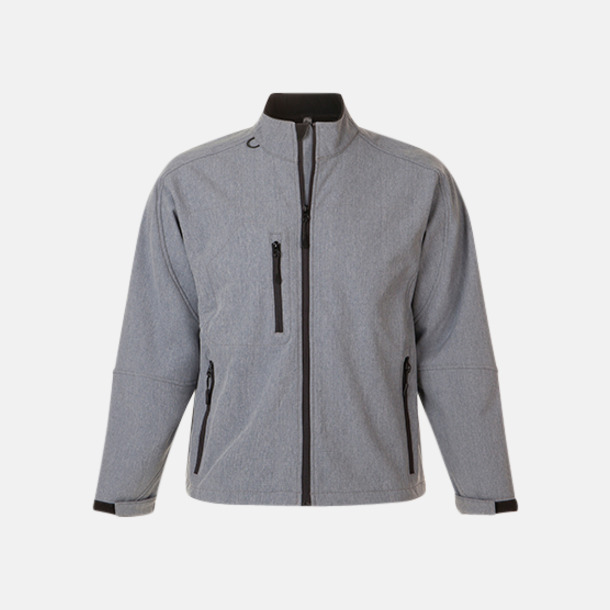 Grey Melange (herr) Softshell jackor i herr- & dammodell med reklamtryck