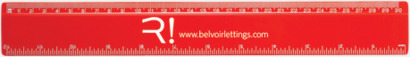 Röd 30 cm-linjaler i många färger med reklamtryck