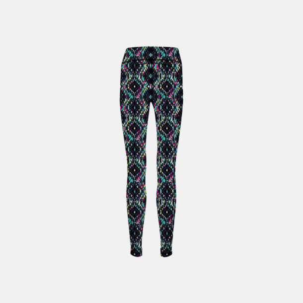 Charcoal (Grey)/Bright Aztec (dam) (2) Tvåsidiga leggings med reklamtryck