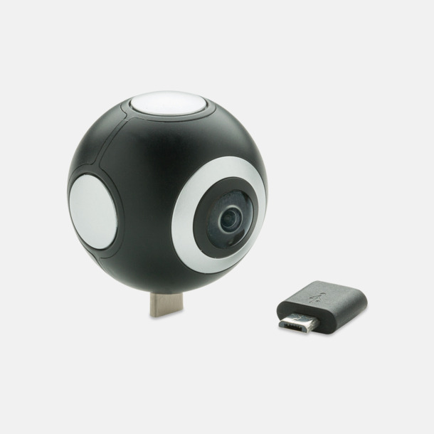 Svart 360° kamera med reklamtryck