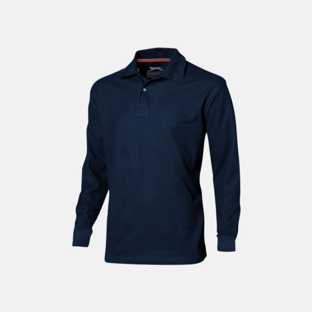 Marinblå (herr) Långärmade pikétröjor från Slazenger med reklamtryck