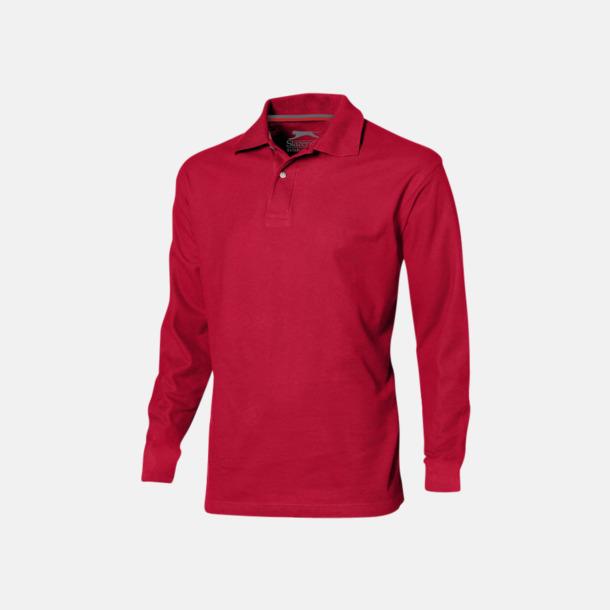 Röd (herr) Långärmade pikétröjor från Slazenger med reklamtryck