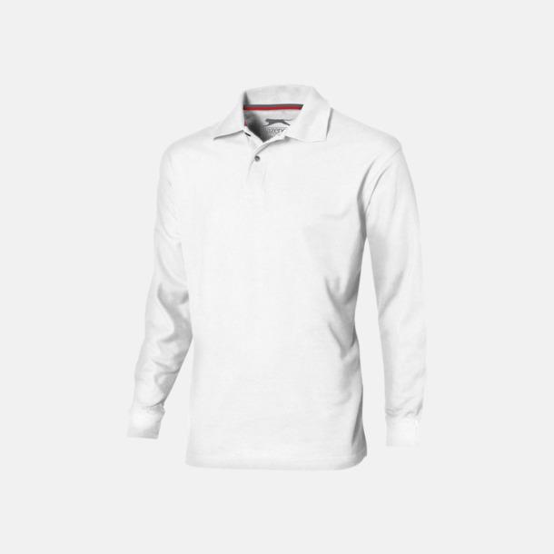 Vit (herr) Långärmade pikétröjor från Slazenger med reklamtryck
