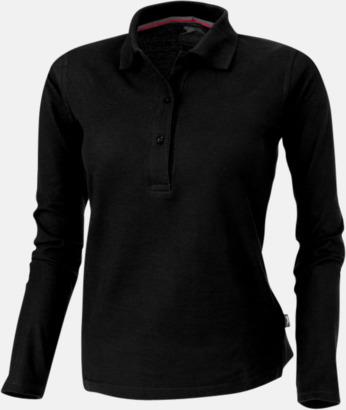 Svart (dam) Långärmade pikétröjor från Slazenger med reklamtryck