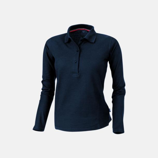 Marinblå (dam) Långärmade pikétröjor från Slazenger med reklamtryck
