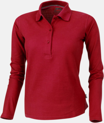 Röd (dam) Långärmade pikétröjor från Slazenger med reklamtryck