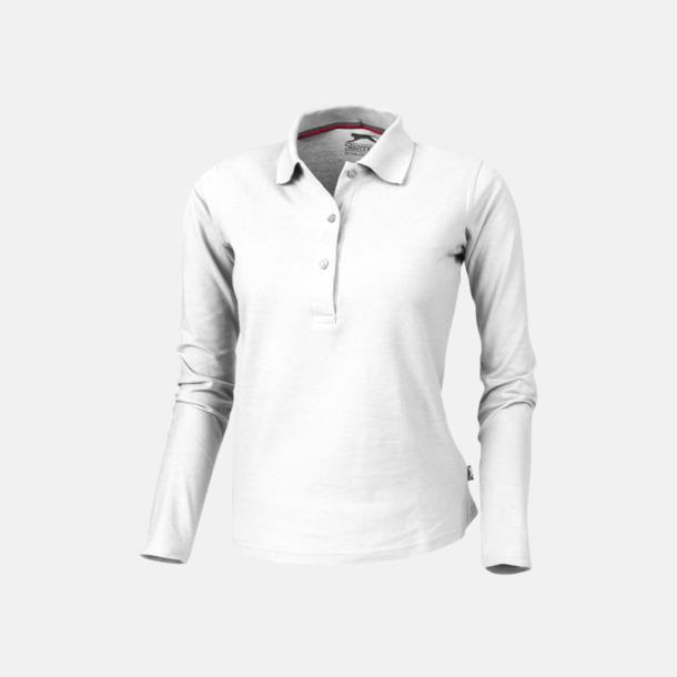 Vit (dam) Långärmade pikétröjor från Slazenger med reklamtryck