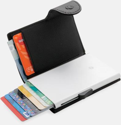 Svart / Silver RFID-säkra korthållare med plånbok - med reklamtryck
