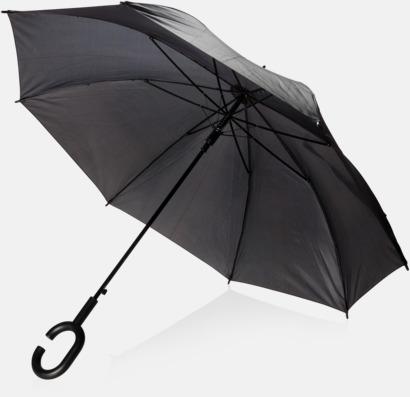 Svart C-formade paraplyer med reklamtryck