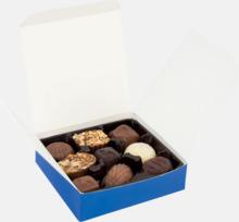 Chokladpraliner i ask med eget tryck