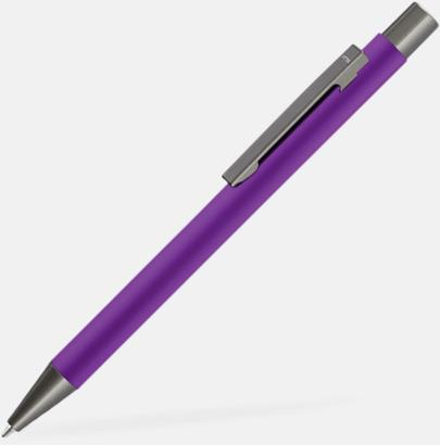 Violet Metallpennor i soft touch-hölje med reklamlogo