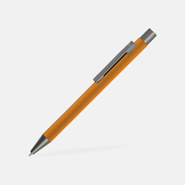 Orange Metallpennor i soft touch-hölje med reklamlogo