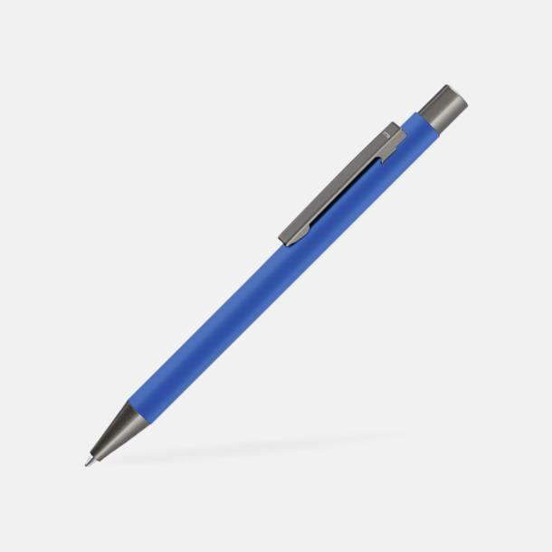 Medium Blue Metallpennor i soft touch-hölje med reklamlogo