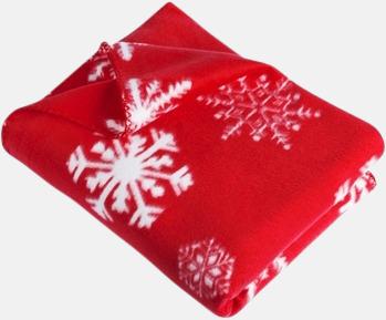 Röd / Vit Julmönstrade fleecefiltar med egen logo
