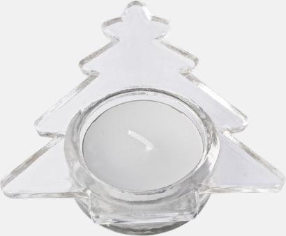 Transparent Värmeljus i granformad hållare med reklamtryck