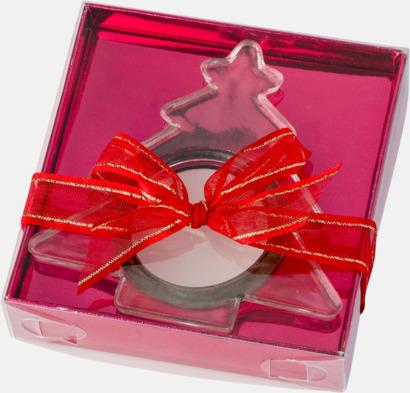 Presentförpackning Värmeljus i granformad hållare med reklamtryck