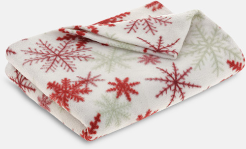 Vit / Röd Julmönstrade filtar i fodral med reklamtryck
