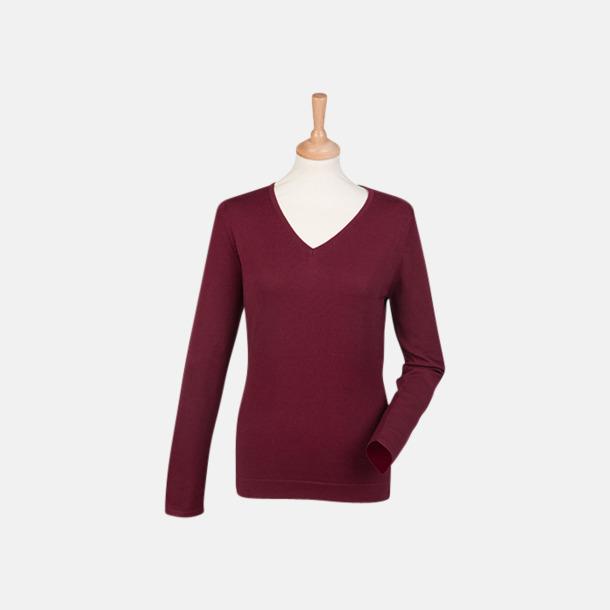 Burgundy (dam) V-neck jumper i herr- & dammodell med reklamtryck