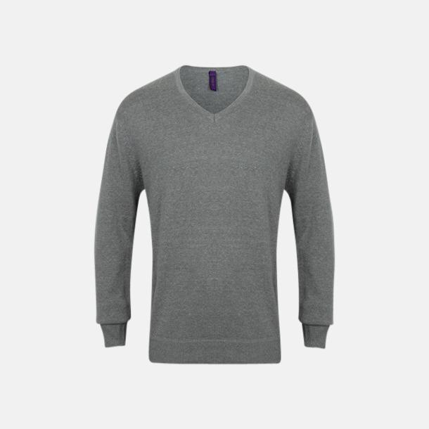 Slate Grey Marl (herr) V-neck jumper i herr- & dammodell med reklamtryck