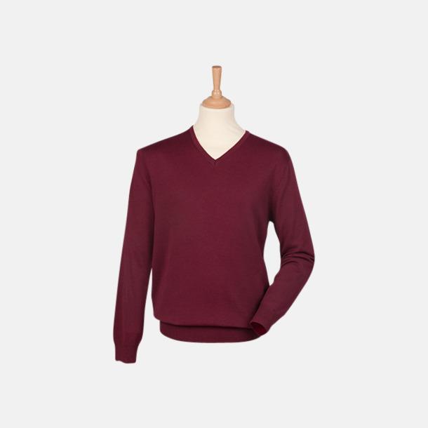Burgundy (herr) V-neck jumper i herr- & dammodell med reklamtryck