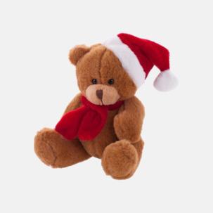 Julklädda teddybjörnar med reklamtryck