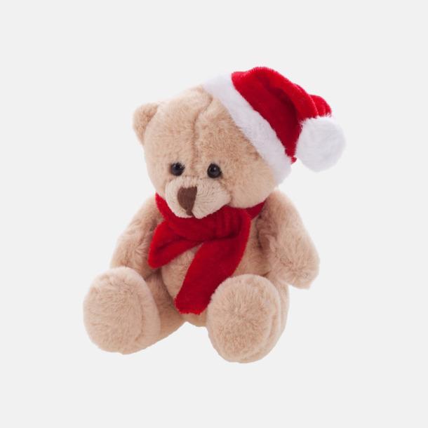 Beige Julklädda teddybjörnar med reklamtryck