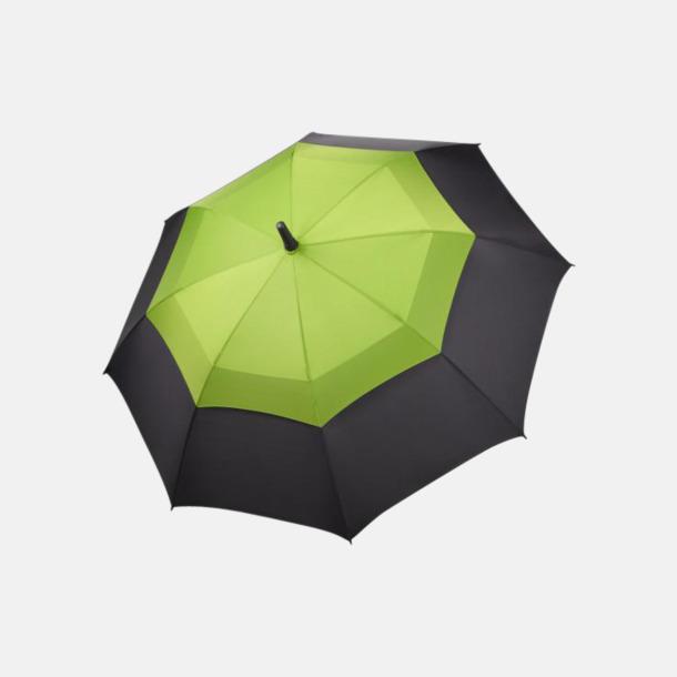 Svart / Limegrön Paraplyer med eget tryck